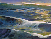 Oceanscape Paintings - Evening Reflection by Melody Cleary