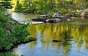 Boundary Waters Canoe Area Wilderness Photos - Evening Reflections at Lower Basswood Falls by Larry Ricker