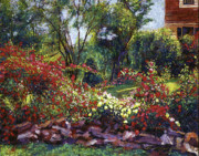 Flower Gardens Painting Prints - Evening Roses Print by David Lloyd Glover