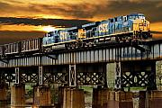 Train Bridge Prints - Evening Run Print by Tim Wilson