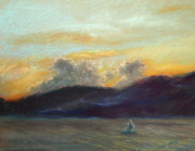 Transportation Pastels Prints - Evening Sail Print by Addie Hocynec