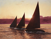 Sailboats Prints - Evening Sails Print by Diane Romanello