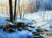 Snowy Stream Paintings - Evening Shadows by Hanne Lore Koehler