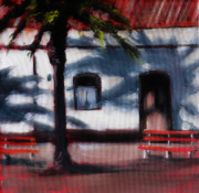 Park Benches Paintings - Evening Shadows by Paula Strother