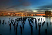 Sunset Tapestries Textiles - Evening Sky Over the Hudson River by Larry Marshall