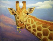 Giraffe Pastels - Evening Snack by Joan Swanson