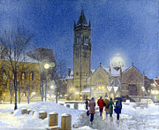 Copley Paintings - Evening Snow - Copley Plaza by Candace Lovely