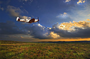 Clouds Glass Posters - Evening Spitfire Poster by Meirion Matthias