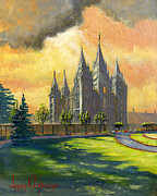 Salt Lake Temple Prints - Evening Splendor Print by Jeff Brimley
