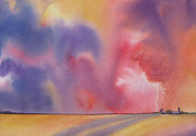 Deb Ronglien Watercolor Prints - Evening Storm Print by Deborah Ronglien