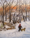 Snowscape Painting Posters - Evening Stroll Poster by Aurelia Nieves-Callwood