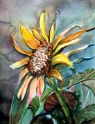 Spiritual Art Drawings Posters - Evening Sun Flower Poster by Mindy Newman