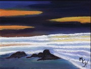 Sunset Greeting Cards Painting Posters - Evening Sunset on Beach Poster by Margaret Harmon