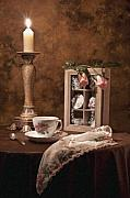 Candle Light Framed Prints - Evening Tea Still Life Framed Print by Tom Mc Nemar
