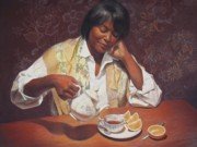 Portrait  Pastels Posters - Evening Tea Poster by Sue Halstenberg