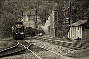 Train Photos - Evening Train in Thurmond WV-monochrome by Kathleen K Parker