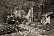 Kathleen K Parker - Evening Train in Thurmond WV-monochrome