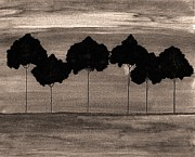 Mod Paintings - Evening Tree Grove by Marsha Heiken