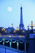Engineering Framed Prints - Evening View Of Eiffel Tower At Moonrise Framed Print by Grant Faint