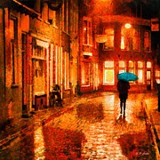 Raining Paintings - Evening Walk in the Rain by Elizabeth Coats