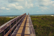 Florida Bridge Photo Metal Prints - Evening walk to the beach Metal Print by Toni Hopper