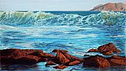 California Beaches Originals - Evening Waves by Mary Benke