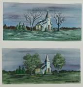 Country Church Framed Prints - Evening Worship In Winter and Summer Framed Print by Charlotte Blanchard