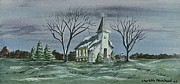 Country Church Prints - Evening Worship In Winter Print by Charlotte Blanchard