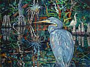 Blue Herron Painting Framed Prints - Everglades Framed Print by Donald Maier