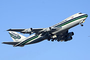 Boeing 747 Prints - Evergreen International Boeing 747-212B N482EV Phoenix Sky Harbor Arizona December 23 2011 Print by Brian Lockett