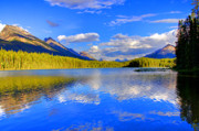 Lake Reflection Framed Prints - Evergreen Lake Framed Print by Scott Mahon