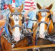 Red White Blue Paintings - Everybody Loves A Parade by Ally Benbrook