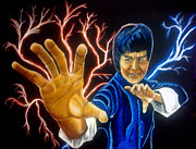 Bruce Lee Painting Originals - Everyones Kung Fu Fighting by Jacob Logan