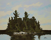 Beaver Pond Paintings - Everyones Still Sleeping by Mike Stocker