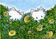 Kiniart Mixed Media Framed Prints - Everythings Coming Up Westies Framed Print by Kim Niles