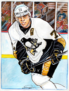 Nhl Hockey Drawings Prints - Evgeni Malkin Print by Dave Olsen