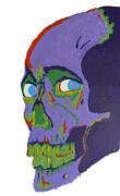 1980s Paintings - Evil Dead Skull by Lucy Anthony