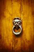 Scowl Prints - Evil Face Door Knocker Print by Gordon Wood