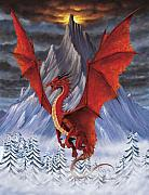 Fantasy Digital Art Metal Prints - Evil Red Dragon Metal Print by Stanley Morrison