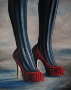 Stilettos Paintings - Evil Shoes by Jindra Noewi