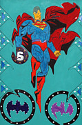 Lichtenstein Prints Posters - Evil Superman Poster by Robert Margetts