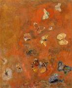 Red Orange Prints - Evocation of Butterflies Print by Odilon Redon
