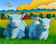 Sheep Tapestries Textiles - Ewe Two by Stacey Neumiller