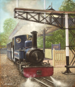 Old Drawings Posters - Exbury Gardens Narrow Gauge Steam Locomotive Poster by Martin Davey