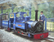 Trains Painting Prints - Exbury Steam Locomotive With Driver Print by Martin Davey