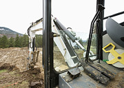 Construction Equipment Framed Prints - Excavator at a Construction Site Framed Print by Andersen Ross