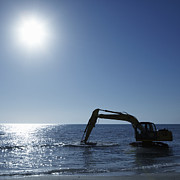 Sea Shore Framed Prints - Excavator Digging in the Ocean Framed Print by Skip Nall