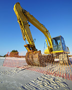 Copy Machine Prints - Excavator on the Beach Print by Skip Nall