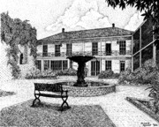 Historic Garden Drawings - Excelsior Hotel Courtyard in Jefferson Texas by Mickie Moore