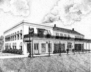 Texas Drawings - Excelsior Hotel in Jefferson Texas by Mickie Moore
